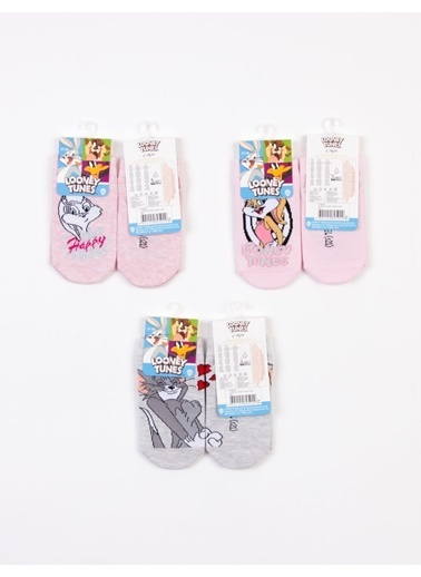 Looney Tunes  Lisanslı 6 Çift Çocuk Patik Çorap 18224 Pembe
